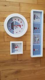 Laura Ashley boys clock and picture set
