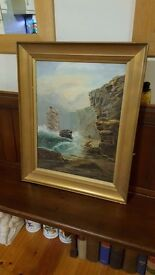 antique oil painting, signed , dated, original frame