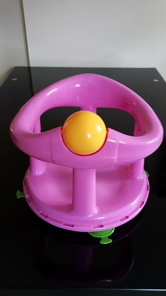 Independent Swivel Baby Back Bath Seat 360 Degree Bathing Backrest Support Roller Ball Pink Baby Bath Seats & Supports