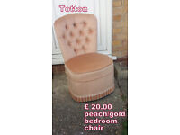 Bedroom chair in peachy/gold