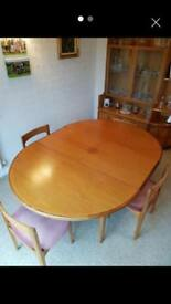 Teak dining table & chairs