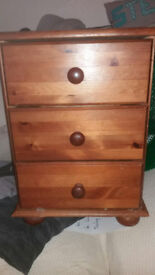 SMALL PINE CHEST OF DRAWS AND DOUBLE PINE WARDROBE & LARGE MIRROR