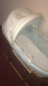 Blue and cream Moses basket