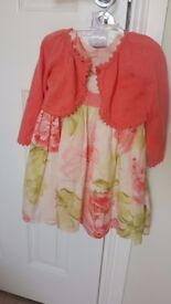 GORGEOUS OCCASION BABY GIRL DRESS by Monsoon with matching cardigan