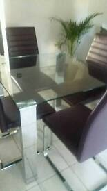 Stunning glass&4purple chairs