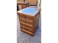 Antique Regency Style Yew Leather Topped 2 Drawer Filing Cabinet