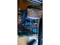 Computer parts - Asus motherboard with AMD processor, CPU fan and Nvidia graphics card