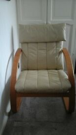 Leather chair with wooden frame