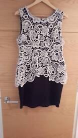Black dress with cream overlay size 14