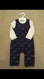 Brand New M&S Navy Dungarees with a Grey Long Sleeved Vest