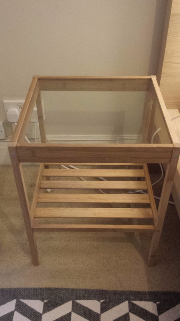 Ikea Nesna Glass Top Bedside Tables Set Of Two In