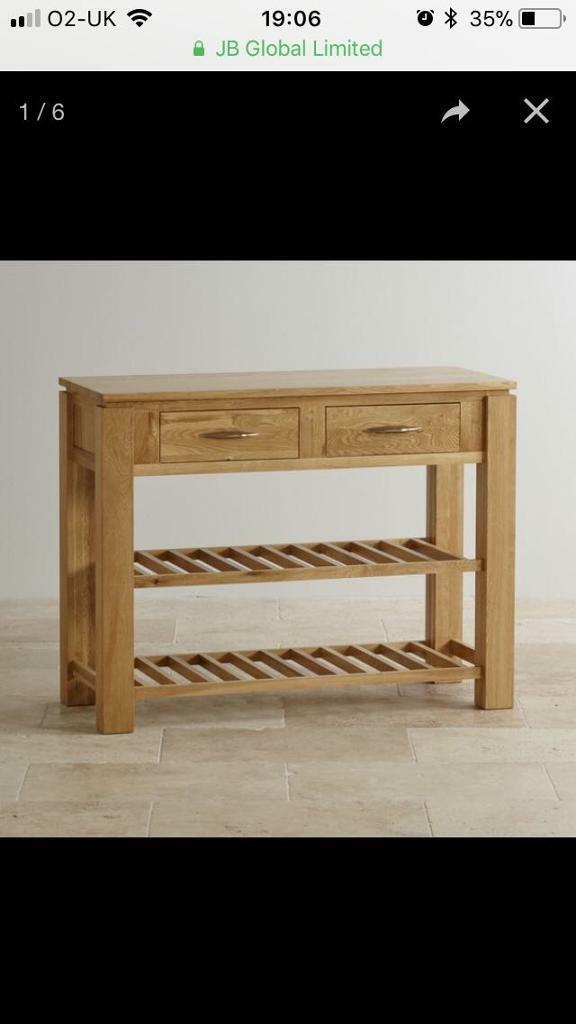 Galway Solid Oak Console Table Storage Baskets