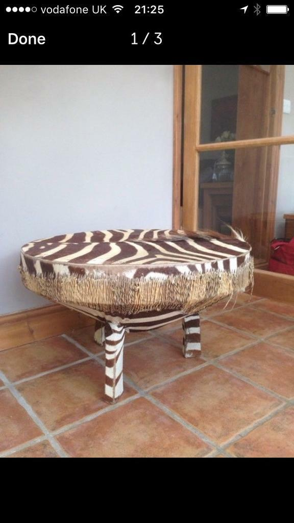 Taxidermy Zebra Skin African Shaman Table Drum