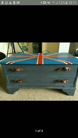 Hand painted union Jack tv cabinet