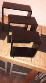 Black cube floating shelves