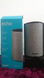 AMAZON ALEXA ECHO 2ND GENERATION WITH GREY COVER - BARELY USED*MINT CONDITION*ALL ORIGINAL PACKAGING