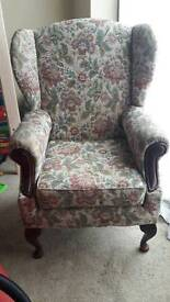 Old fashioned wing back chair