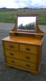 WOW beautiful large vintage solid oak dressing table