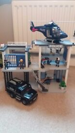 Playmobil police station with van and helicopter