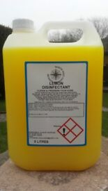 1 x pallet containing 160 x 5 litre lemon disinfectant wholesale free uk delivery and vat included