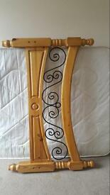 Solid pine wood and cast iron double bed