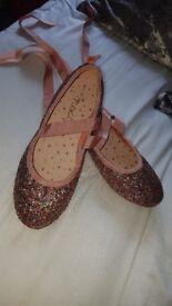size 4 glitter ballerina shoe worn once