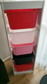 2 x ikea trofast units with boxes