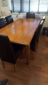 Wooden table & 6 chairs