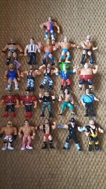 Early set of wrestlers extremely collectable with a few rare figures+well worn ring