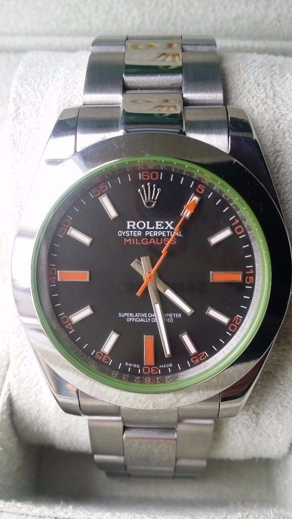 rolex milgauss black face orange sweeping sapphire glass waterproof 150g weight