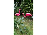 SOLD Pink plastic flamingos *pair*