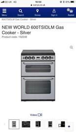 New world silver/black 60cm gas cooker new graded