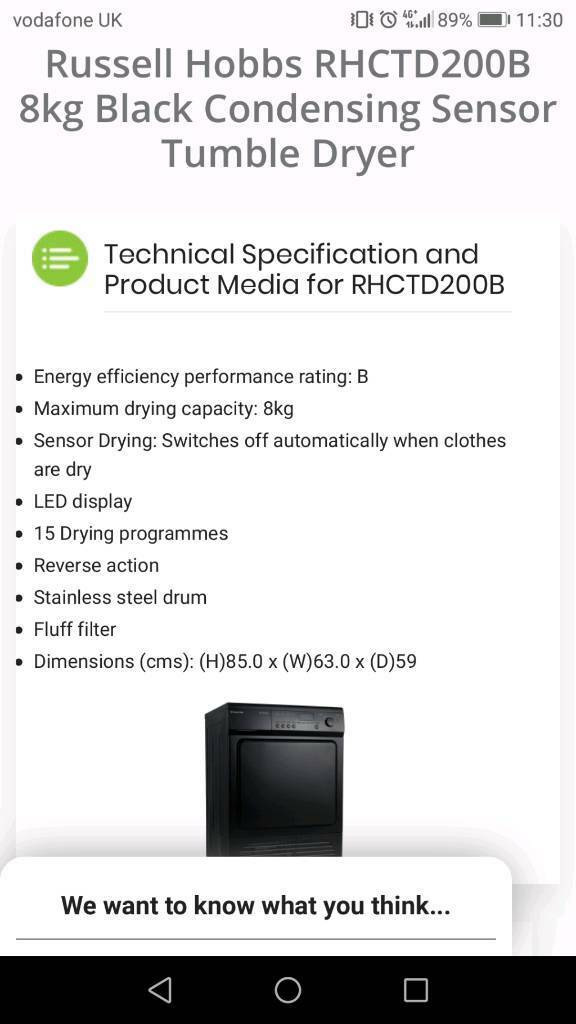 Russell Hobbs 8kg condenser dryer - needs new pulley  | in