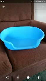 Blue plastic cat or small dog bed