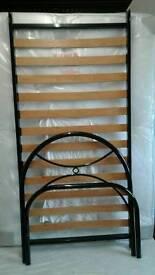 Black metal bed frame single