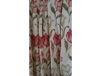 Pair of curtains 70% polyester 30% cotton fully cotton lined approx 90 inches x 90 inches