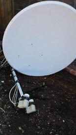 Satellite dish with stand and 4 LNBs