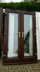 ** uPVC Double Glazed French Doors Woodgrain Rosewood Brown Size W 1330mm x H 2100mm
