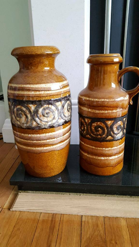 Pair Of Vintage Mid Century German Vasesjug A1 Condition In