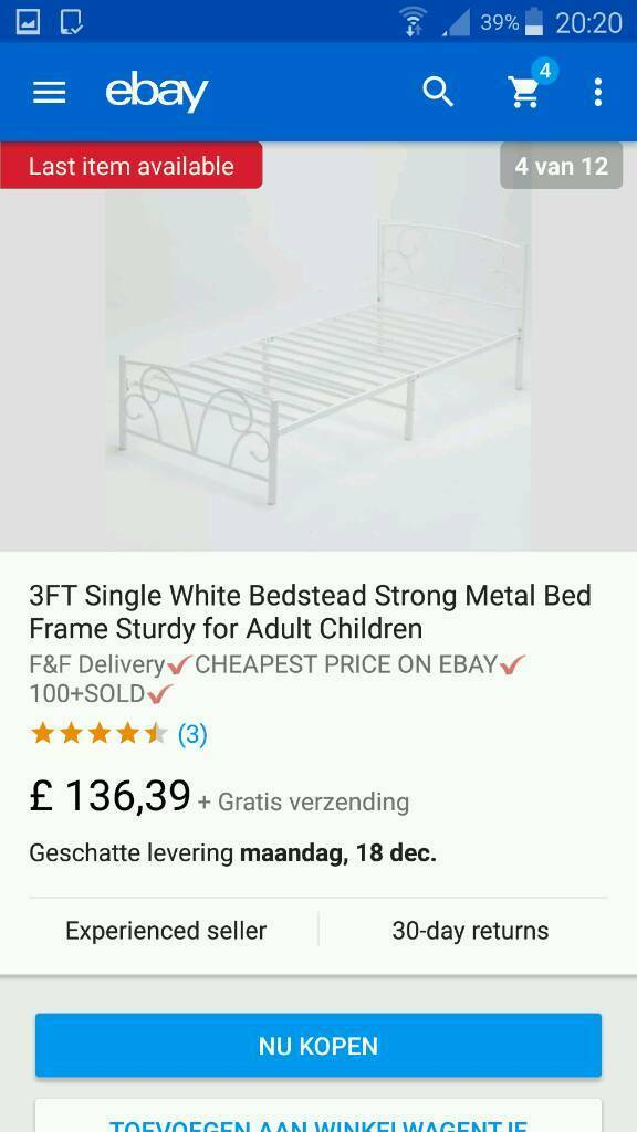 Single bed metal white