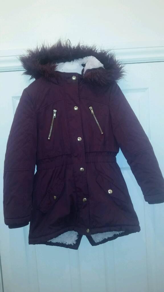 6790c2b37 Girls parker thick winter coat fur hood fleece lined 8-9 years