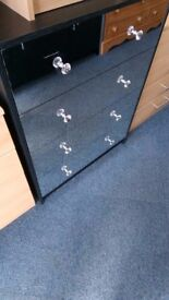 New Black and Chrome Effect 4 Drawer Chest