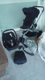 Quinny Buzz Xtra Travel System inc car seat, buggy seat, & raincover