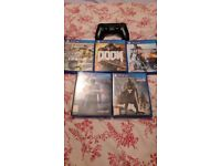 Ps4 with pad, wires and 5 games