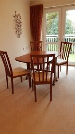 Wooden Gate leg Dining table and four Chairs