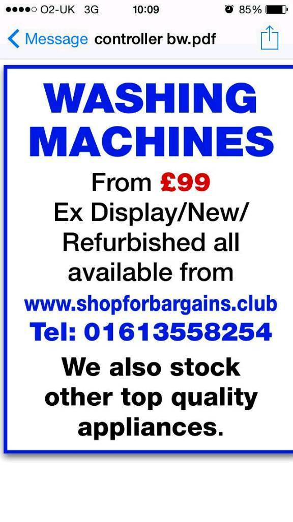 Washing machine fridges freezers cookers dryers dishwashers washingin Gorton, ManchesterGumtree - Refurbished washing machine from £99 Lots more on to offer on our website or give me a call.We also have new and exdisplay appliances with over £50 off all this week. We do not have a showroom we are a distribution warehouse with free delivery...