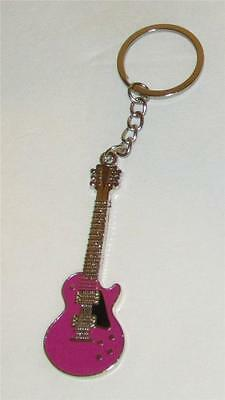 Exquisite Purple GUITAR Metal Alloy KEY CHAIN Ring Keychain NEW