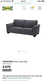 Ikea Tidafors Grey Fabric Sofa - VGC