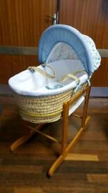 Baby Boy Moses Basket & Stand