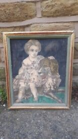 Vintage Kitsch Picture Child and Dog Framed Mixed Media Collage Art Decoupage